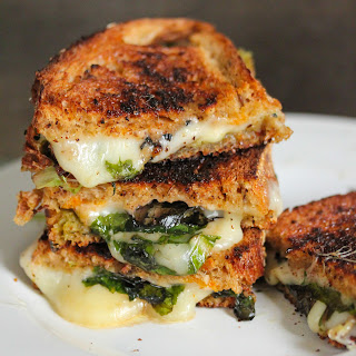 Grilled Cheese And Spinach Sandwich.