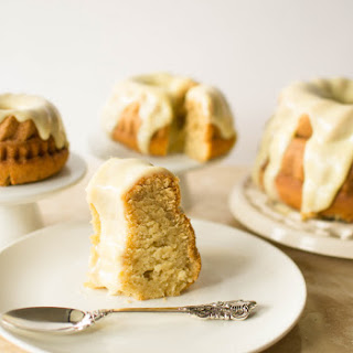 Vanilla Malted Bundt Cake with White Chocolate and Cardamom Frosting.