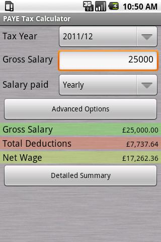 PAYE Tax Calculator (Free) - screenshot