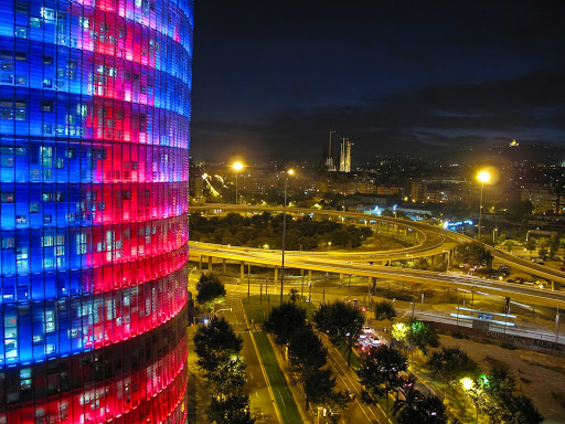 Torre-Agbar-Barcelona - A look at the 38-floor office tower Torre Agbar in Barcelona, Spain. The building is a modern architectural inspiration that has become a symbol of Barcelona itself.