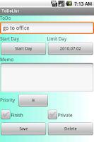 Screenshot of ToDoList