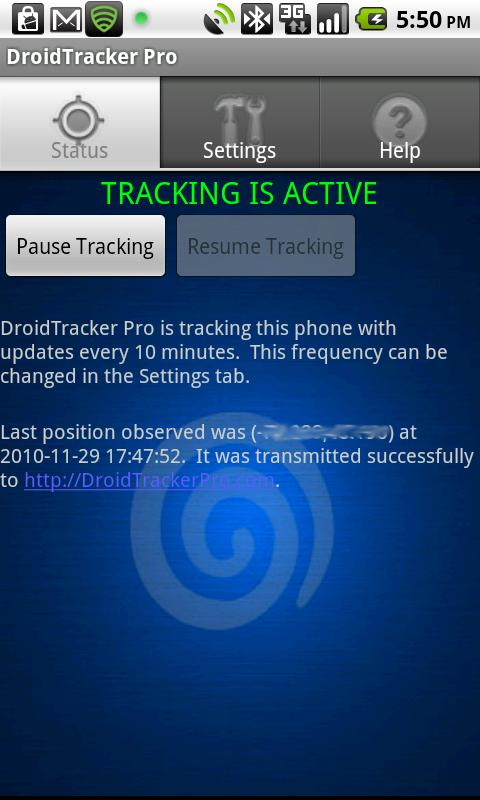Droid Tracker Pro GPS Tracker - screenshot