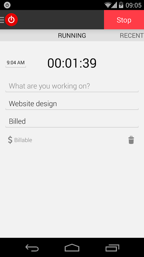 Toggl Time Tracker - screenshot