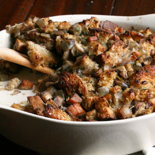Mushroom and Sausage Sourdough Stuffing.