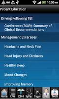 Screenshot of mTBI Pocket Guide