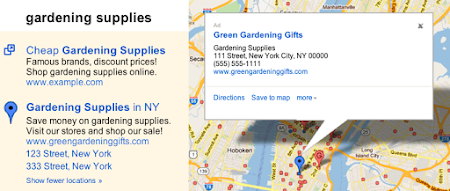 Google Maps location extension ads