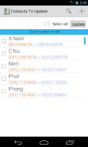 Update Phone Code