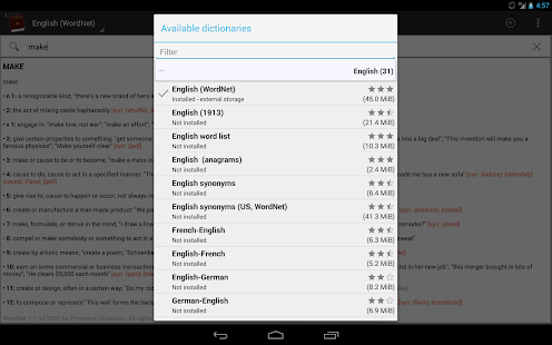 Offline dictionaries- screenshot thumbnail