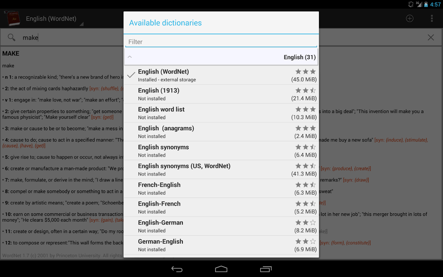 Offline dictionaries- screenshot