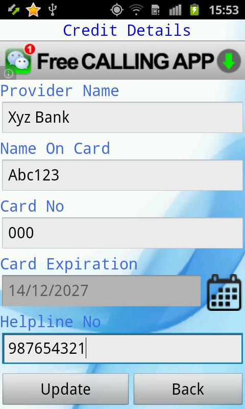 Smart Card Wallet - screenshot