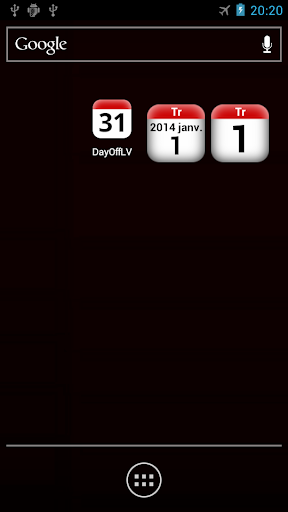 LV holidays calendar widget