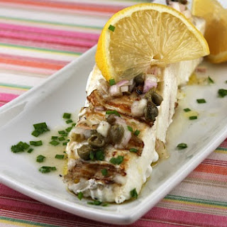 Grilled Halibut w/ Lemon- Caper Vinaigrette