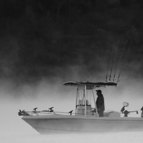 by Joel Eade - Transportation Boats ( tranquil, peaceful, awesome, black and white, fog, lake, boat,  )