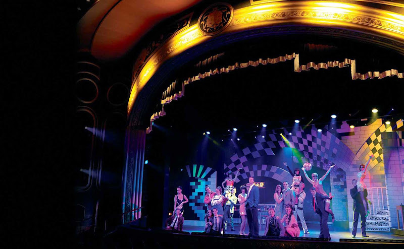 The Royal Court Theatre aboard Queen Elizabeth offers guests a choice of music productions and classic Shakespearean plays.
