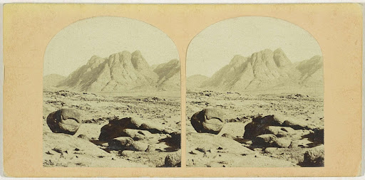 Mount Sinai (Horeb) with the Convent. from the Plain of Er-Raheh (the place of the Assemblage)