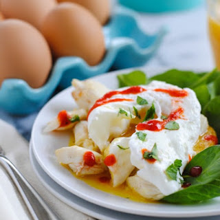 Polenta Cakes with Crab & Eggs.