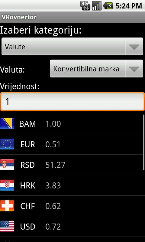 VKonvertor - konvertor valuta - screenshot