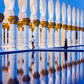Beautiful Reflections by Kevin Egan - Buildings & Architecture Places of Worship ( sheik zayed grand mosque, water, reflection, place of worship, abu dhabi, , color, colors, landscape, portrait, object, filter forge )