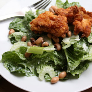 Fried Chicken Salad with Black Eyed Peas & Buttermilk Dressing.