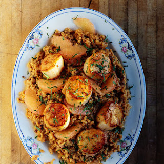 Risotto with Grapefruit and Seared Scallops.
