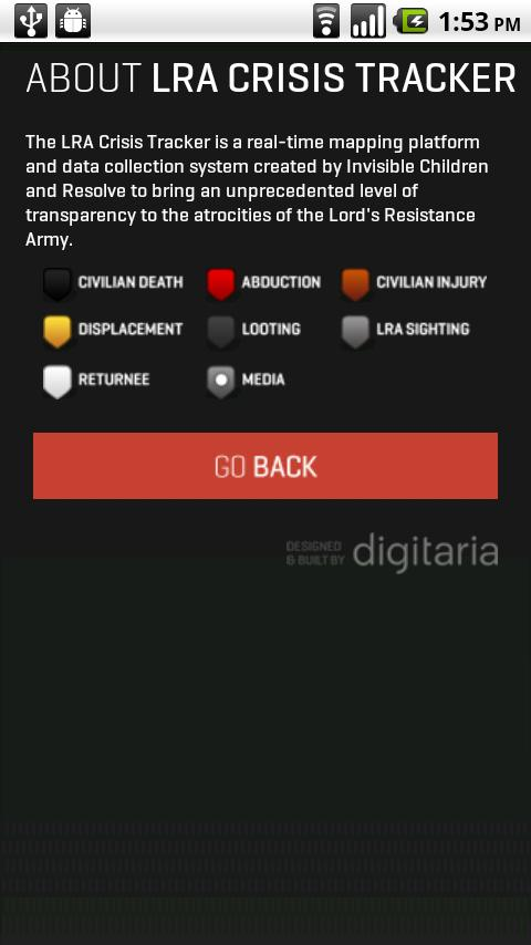 LRA Crisis Tracker - screenshot