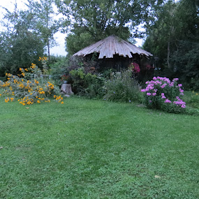 Rustic Gazebo by Sandy Brittain - Buildings & Architecture Homes ( yard, flowers, rustic, garden, gazebo )