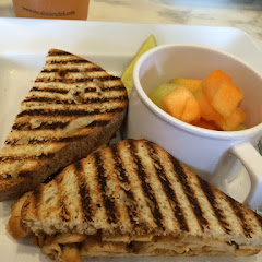 Sweet Chipotle Chicken on Gluten Free bread with a fruit cup.