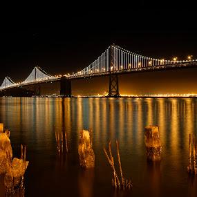 San Francisco Bay Bridge by night by Claus Dahm - Buildings & Architecture Bridges & Suspended Structures ( california, night, bridge, bay bridge, san francisco, , Urban, City, Lifestyle )