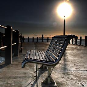 Pier Bench by Andre Oelofse - City,  Street & Park  City Parks ( bench, pier, sun, , #GARYFONGDRAMATICLIGHT, #WTFBOBDAVIS )