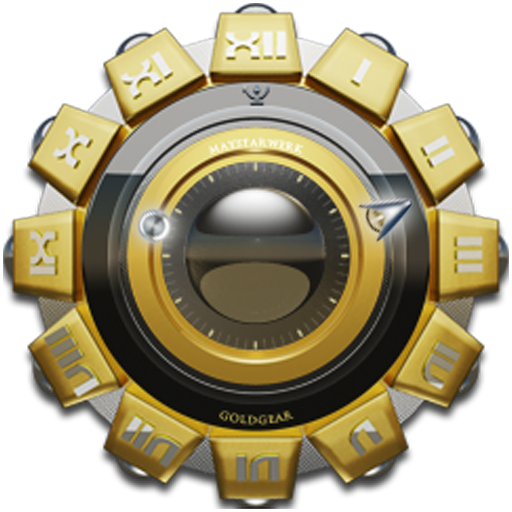 Clock Widget Gold Gear