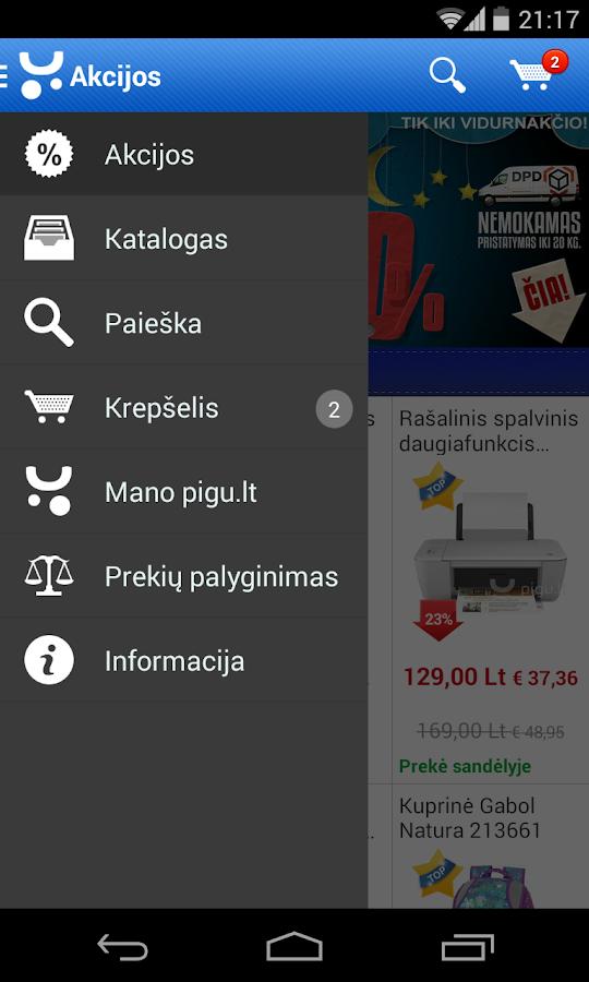 Pigu.lt mobilioji parduotuvė - screenshot