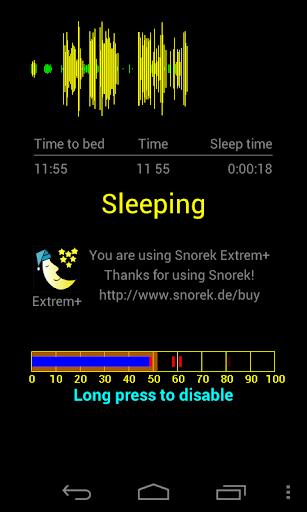 Extrem+ snore detect warning