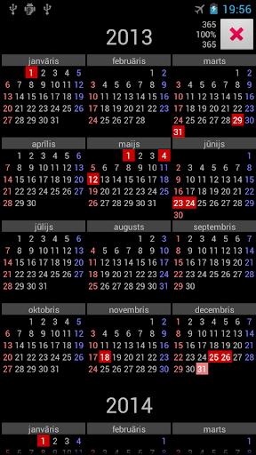 LV Holidays Annual Calendar