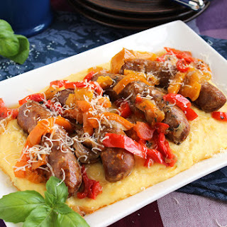 Slow Cooker Sausage and Peppers with Parmesan Basil Polenta