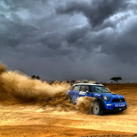 Eat My Dust by Zoheb Desai - Sports & Fitness Motorsports ( car, rally, dust trail, desert, rainy, uae, trail, dust, cloudy, storm, cooper, mini cooper )