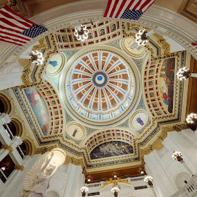 Angles and Angles by Tim Devine - Buildings & Architecture Public & Historical ( flags, harrisburg, rotunda, pennsylvania, capitol )