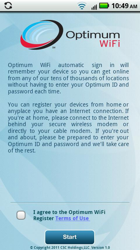 Optimum WiFi Register - screenshot