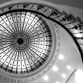 The Eye by Mike Bing - Buildings & Architecture Office Buildings & Hotels ( hungary, budapest, staircase, white, hotel, black, eye, meridien, Architecture, Ceilings, Ceiling, Buildings, Building )