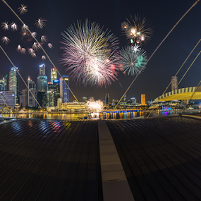 Fireworks by GokulaGiridaran Mahalingam - City,  Street & Park  Skylines ( canon, skyline, wideangle, national day, firewowrks, architecutre, skyscrappers, 6d, singapore, city, raffles place, mbfc, mbs, buildings, street and park )