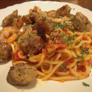 Pasta with Red Pepper Sauce, Sausage, and Shrimp.