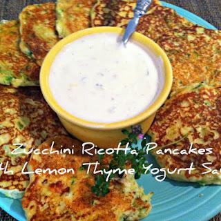 Zucchini Ricotta Pancakes With Lemon Thyme Yogurt Sauce