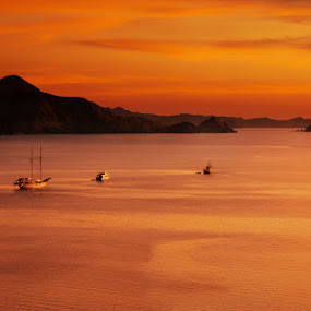 Sunset at Labuan Bajo by Rah Juan - Landscapes Travel ( nature, flores, labuan bajo, sunset, indonesia, nusa tenggara, ocean, travel, Free, Freedom, Inspire, Inspiring, Inspirational, Emotion, , water, device, transportation )
