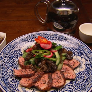 Tea smoked duck breast with Chinese inspired salad