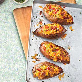 Twice-Baked Sweet Potatoes with Cheddar and Bacon