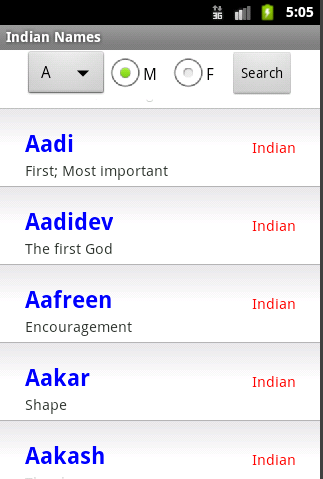 Indian Names Top List