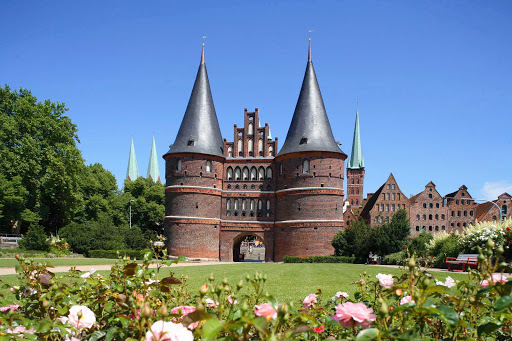 Landscape surrounding Holsten Gate in Lübeck, northeast of Germany, one of the most famous German buildings in the world.
