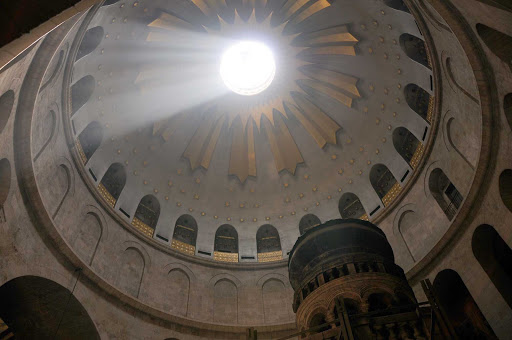 Church-of-Holy-Sepulchre-Jerusalem-cupola - The cupola inside the Church of the Holy Sepulchre in Old Jerusalem.