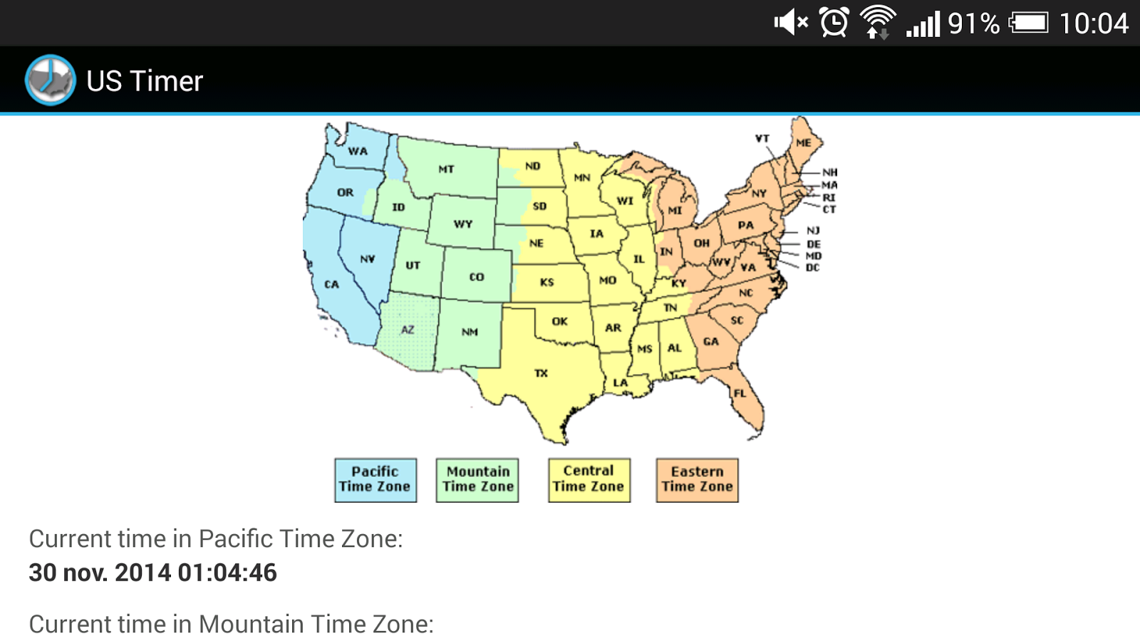 US Timezones clock - screenshot