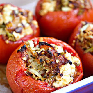 Baked Stuffed Tomatoes With Feta and Roasted Peppers