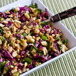 Napa Cabbage and Red Cabbage Salad with Fresh Herbs and Peanuts.